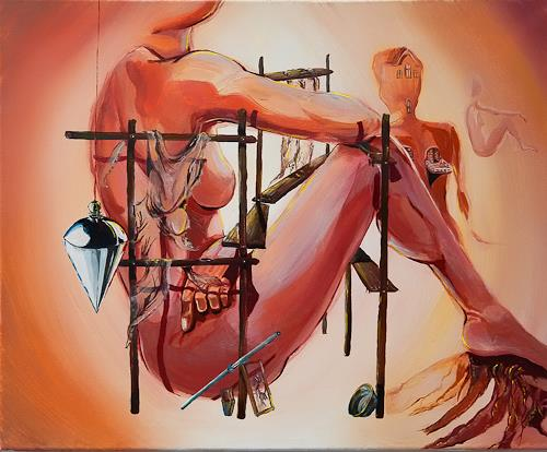 Ute Bescht, Construcción de la ama de casa, Akt/Erotik: Akt Frau, Menschen: Frau, Surrealismus