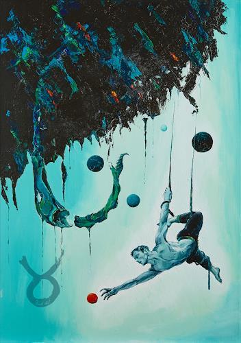 Ute Bescht, Acrobacy of Life, Menschen: Mann, Fantasie, Postsurrealismus, Abstrakter Expressionismus