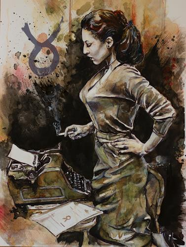 Ute Bescht, The Letter, Menschen: Frau, Menschen: Porträt, expressiver Realismus, Abstrakter Expressionismus