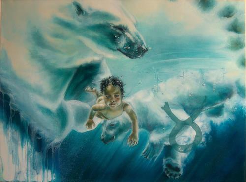Ute Bescht, ICEbirth, Menschen: Kinder, Natur: Wasser, Hyperrealismus, Abstrakter Expressionismus