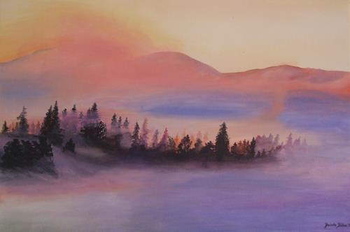 Daniela Böker, Landschaft im Nebel, Landschaft: Hügel, Pflanzen: Bäume