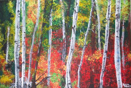 Daniela Böker, Herbstwald, Landschaft: Herbst, Natur: Wald, Expressionismus