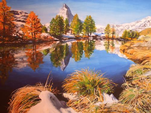 Daniela Böker, Das Matterhorn im Herbst, Landschaft: Berge, Landschaft: See/Meer