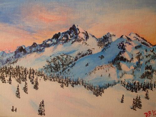 Daniela Böker, Tattosh Range From Mt Rainier, Landschaft: Berge, Landschaft: Winter, Naturalismus