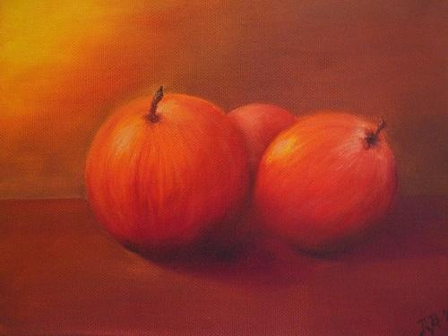 Daniela Böker, Stilleben mit Äpfeln, Essen, Stilleben, Naturalismus
