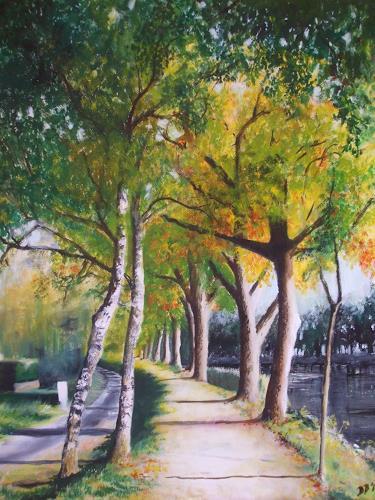 Daniela Böker, am Dortmund-Ems-Kanal, Landschaft: Herbst, Pflanzen: Bäume, Naturalismus