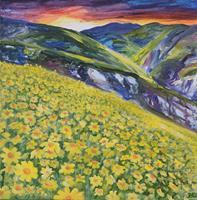 Daniela-Boeker-Landschaft-Berge-Pflanzen-Blumen-Moderne-expressiver-Realismus