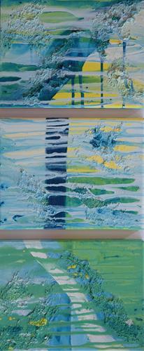 Daniela Böker, kleines Triptychon, Abstraktes, Drip Painting, Expressionismus