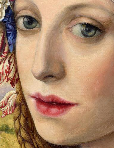 Victoria Francisco, Girl with tulip.Detail., Fantasie, Symbol, Symbolismus, Expressionismus