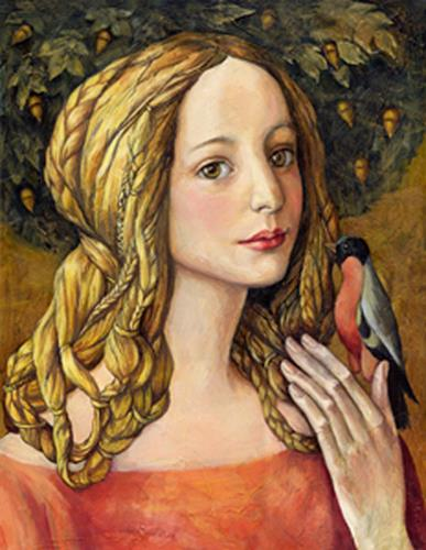 Victoria Francisco, A girl with bird., Fantasie, Fantasie, Symbolismus, Moderne