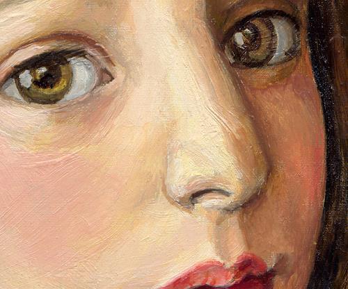 Victoria Francisco, A girl with bird.Detail., Menschen: Porträt, Fantasie, Symbolismus, Expressionismus