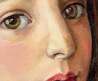 Victoria Francisco, A girl with bird.Detail.