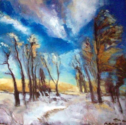 Ellen Fasthuber-Huemer, Winterstimmung, Landschaft: Winter, Postimpressionismus, Expressionismus