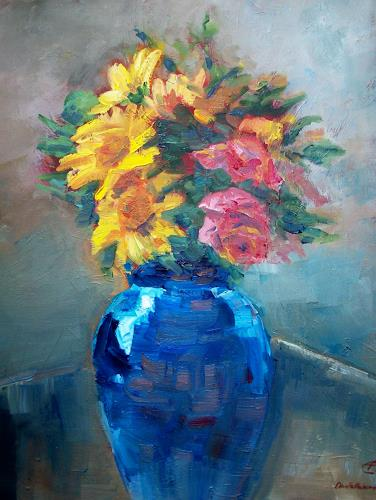 Ellen Fasthuber-Huemer, Kind of Blue, Pflanzen: Blumen, Postimpressionismus
