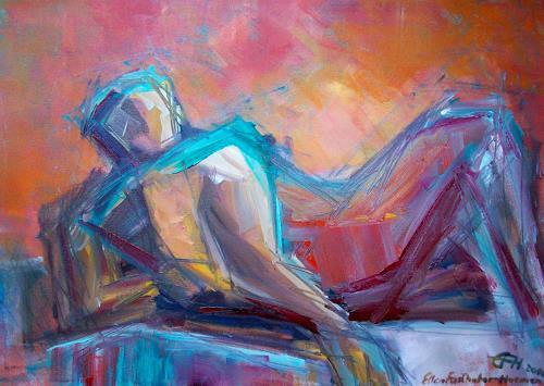 Ellen Fasthuber-Huemer, O.T., Diverses, Menschen: Mann, expressiver Realismus, Abstrakter Expressionismus