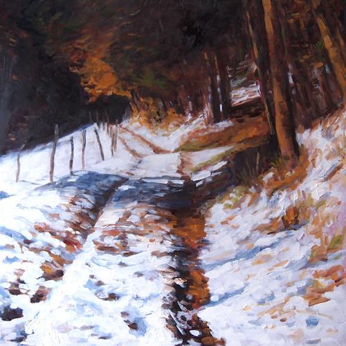 Ellen Fasthuber-Huemer, Herbstschnee, Landschaft: Herbst, Natur: Wald, Postimpressionismus, Expressionismus