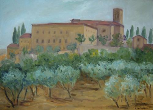 Ellen Fasthuber-Huemer, St.Anna in Camprena, Landschaft: Sommer, Diverse Bauten, Neo-Impressionismus