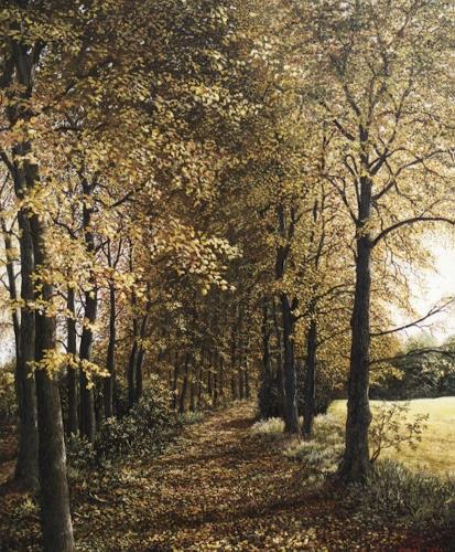 Peter Kempf, Waldweg im Herbst, Diverse Landschaften, Naturalismus, Expressionismus