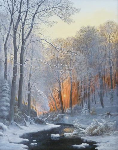 Peter Kempf, Winter am Wildbach im Dämmerlicht, Natur: Wald, Romantik: Sonnenuntergang, Naturalismus, Expressionismus