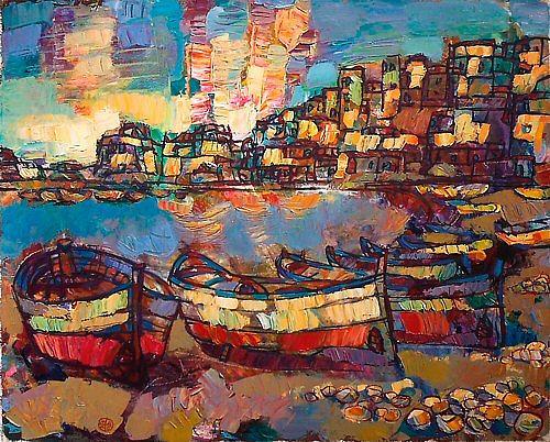 JURY MAKEEV, Aphrodite Beach, Landschaft: Strand, Diverse Romantik, Expressionismus