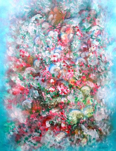 Bernhard Ost, Sinnliches Blütenfeld, Abstraktes, Gegenwartskunst