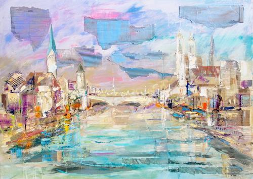 Ernest Hiltenbrand, Zürich, Landschaft, Verkehr, Neuzeit, Expressionismus