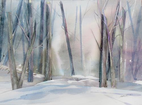 Ernest Hiltenbrand, Wald im Schnee, Landschaft: Winter, Menschen, Realismus, Expressionismus