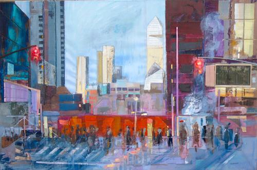 Ernest Hiltenbrand, New York Ground Zero, Menschen: Gruppe, Landschaft, Expressionismus