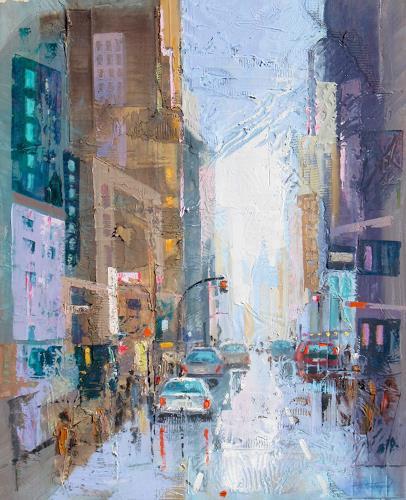 Ernest Hiltenbrand, Street 2, Glauben, Landschaft: Winter, Abstrakter Expressionismus