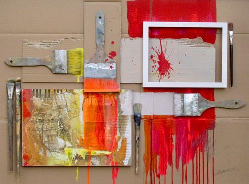 Ernest Hiltenbrand, In der Werkstatt, Fantasie, Abstraktes, Action Painting
