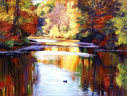 David Lloyd Glover, Reflections of Autunn, Landschaft: Herbst, Postimpressionismus, Expressionismus