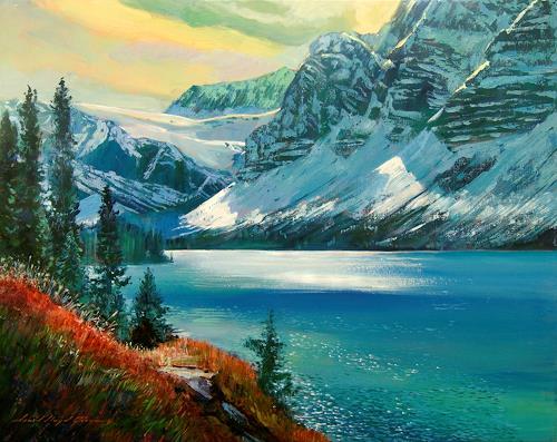 David Lloyd Glover, Majestic Bow Valley, Landschaft: Winter, Landschaft: Winter, Impressionismus, Expressionismus