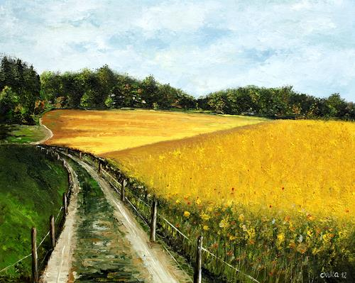 Anka Hubrich, Rapsfeld, Landschaft: Sommer, Expressionismus