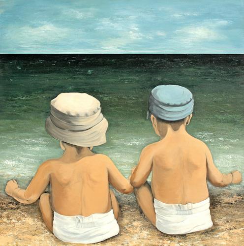 Anka Hubrich, Kinder schauen auf´s Meer, Menschen: Kinder, Expressionismus