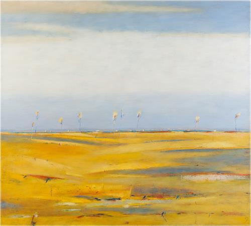 Kestutis Jauniskis, Landscape With Yellow Fields, Landschaft: Hügel, Colour Field Painting, Expressionismus