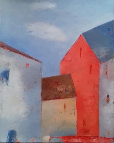 Kestutis Jauniskis, Old City Motif, Bauten: Haus, Colour Field Painting, Expressionismus