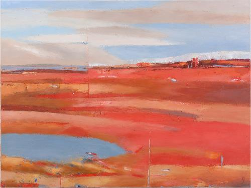 Kestutis Jauniskis, Evening Is Coming, Landschaft: Hügel, Colour Field Painting