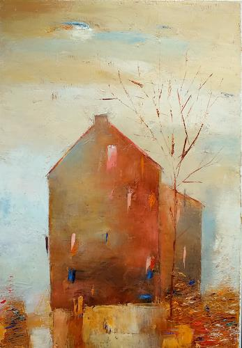 Kestutis Jauniskis, Old City Motif 1, Architektur, Action Painting, Expressionismus