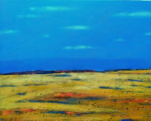 Kestutis Jauniskis, Landscape 13, Landschaft: Hügel, Action Painting, Expressionismus
