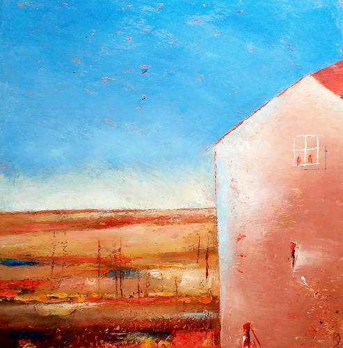 Kestutis Jauniskis, Landscape With House, Landschaft: Hügel, Colour Field Painting, Expressionismus