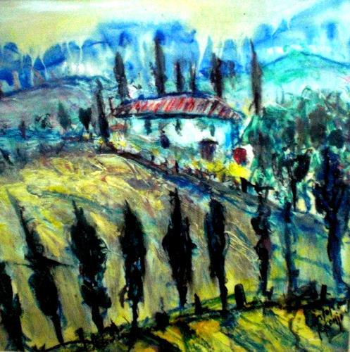 Josef Fekonja, Toscana, Abstraktes, Landschaft: Frühling