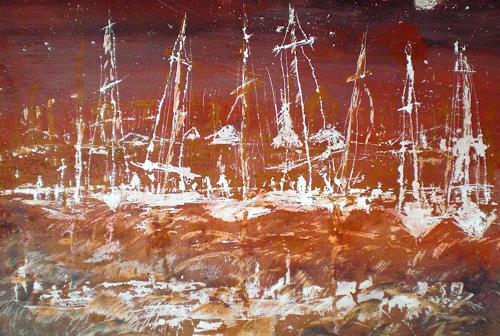 Josef Fekonja, Marina, Abstraktes, Landschaft: See/Meer