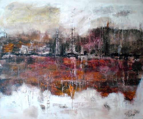 Josef Fekonja, ohne Titel, Abstraktes, Landschaft: See/Meer, Gegenwartskunst