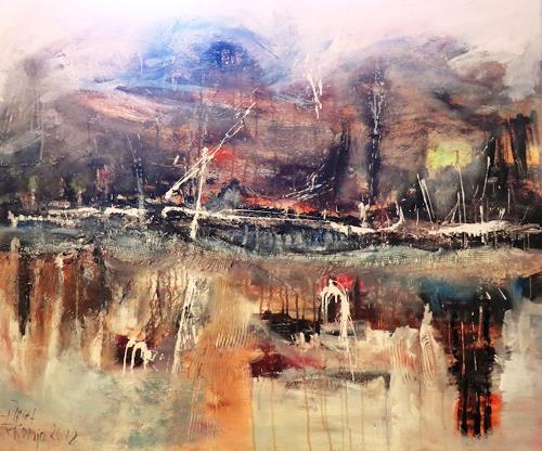 Josef Fekonja, Spiel der Elemente, Abstraktes, Landschaft: See/Meer, Gegenwartskunst, Abstrakter Expressionismus