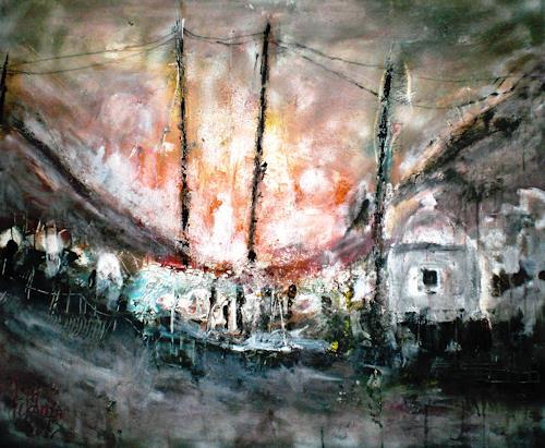 Josef Fekonja, firestorm, Abstraktes, Landschaft: Sommer, Gegenwartskunst, Abstrakter Expressionismus