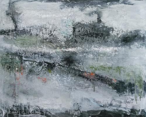 Josef Fekonja, Ohne Titel, Abstraktes, Landschaft: See/Meer, Abstrakter Expressionismus
