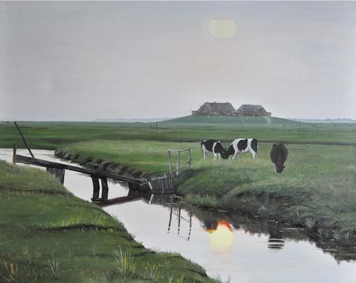 Svantje Miras, Hallig Hooge, Landschaft: See/Meer, Landschaft: Ebene, Realismus, Expressionismus
