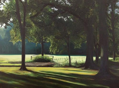 Svantje Miras, Bürgerpark in Bremen, Landschaft: Sommer, Diverse Landschaften, Realismus, Expressionismus