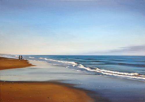 Svantje Miras, Morgen an der Costa de la luz, Landschaft: See/Meer, Landschaft: Strand, Realismus, Expressionismus