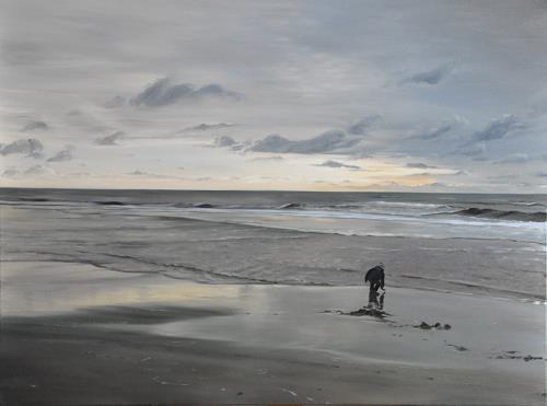 Svantje Miras, Sylt, Westtrand am Abend, Landschaft: See/Meer, Landschaft: Strand, Expressionismus